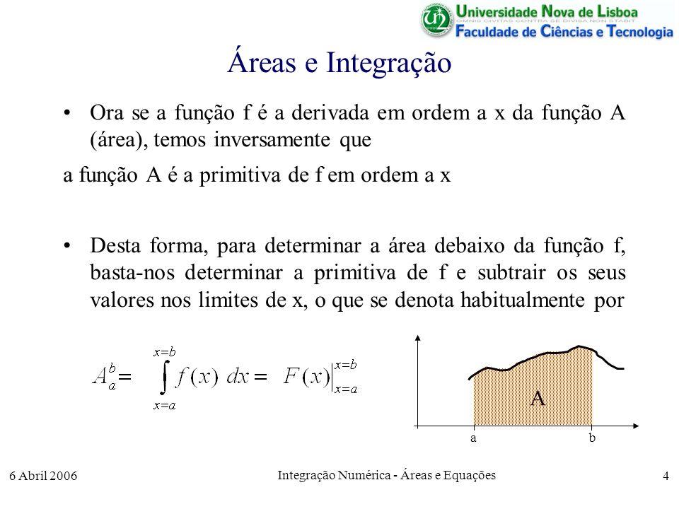 6 Abril 2006 Integração Numérica - Áreas e Equações 4 Áreas e Integração Ora se a função f é a derivada em ordem a x da função A (área), temos inversamente que a função A é a primitiva de f em ordem a x Desta forma, para determinar a área debaixo da função f, basta-nos determinar a primitiva de f e subtrair os seus valores nos limites de x, o que se denota habitualmente por A ab