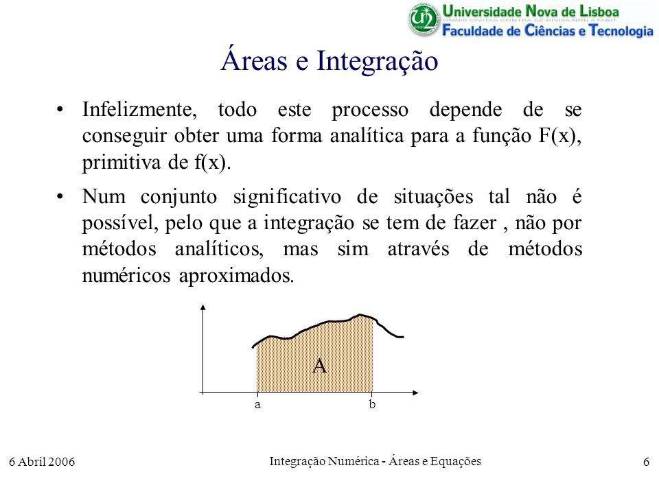 6 Abril 2006 Integração Numérica - Áreas e Equações 6 Áreas e Integração Infelizmente, todo este processo depende de se conseguir obter uma forma analítica para a função F(x), primitiva de f(x).