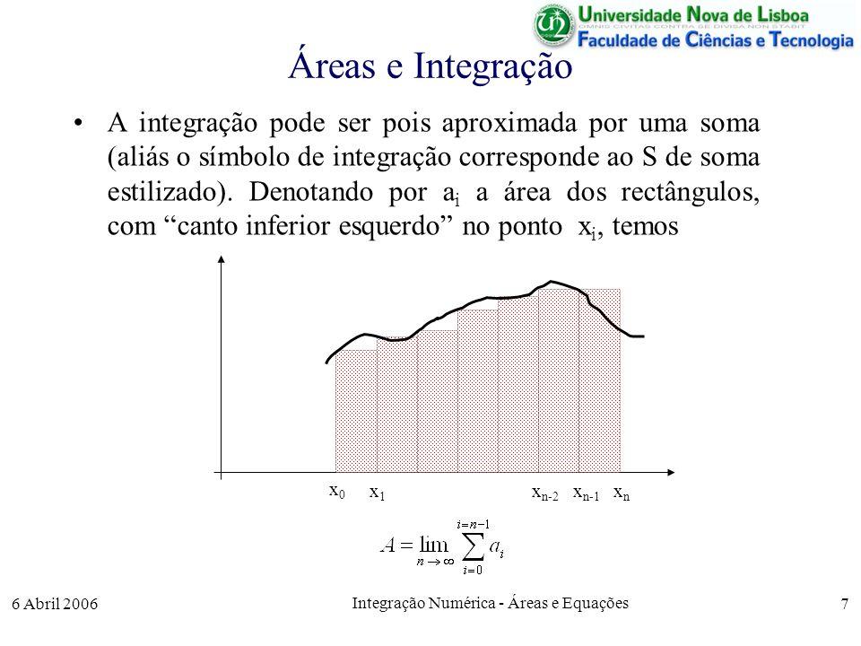 6 Abril 2006 Integração Numérica - Áreas e Equações 7 Áreas e Integração A integração pode ser pois aproximada por uma soma (aliás o símbolo de integração corresponde ao S de soma estilizado).