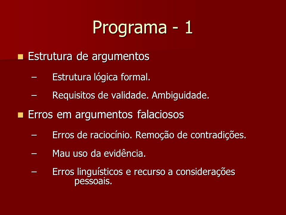 Programa - 1 Estrutura de argumentos Estrutura de argumentos – Estrutura lógica formal. – Requisitos de validade. Ambiguidade. Erros em argumentos fal