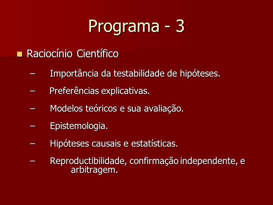 Programa - 3 Raciocínio Científico Raciocínio Científico – Importância da testabilidade de hipóteses. – Preferências explicativas. – Modelos teóricos