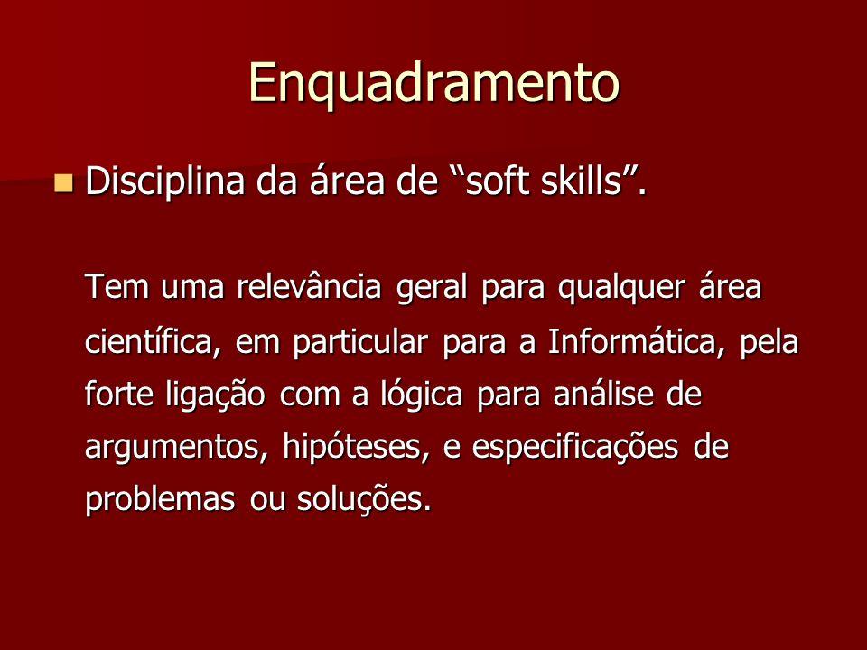 Enquadramento Disciplina da área de soft skills. Disciplina da área de soft skills. Tem uma relevância geral para qualquer área científica, em particu