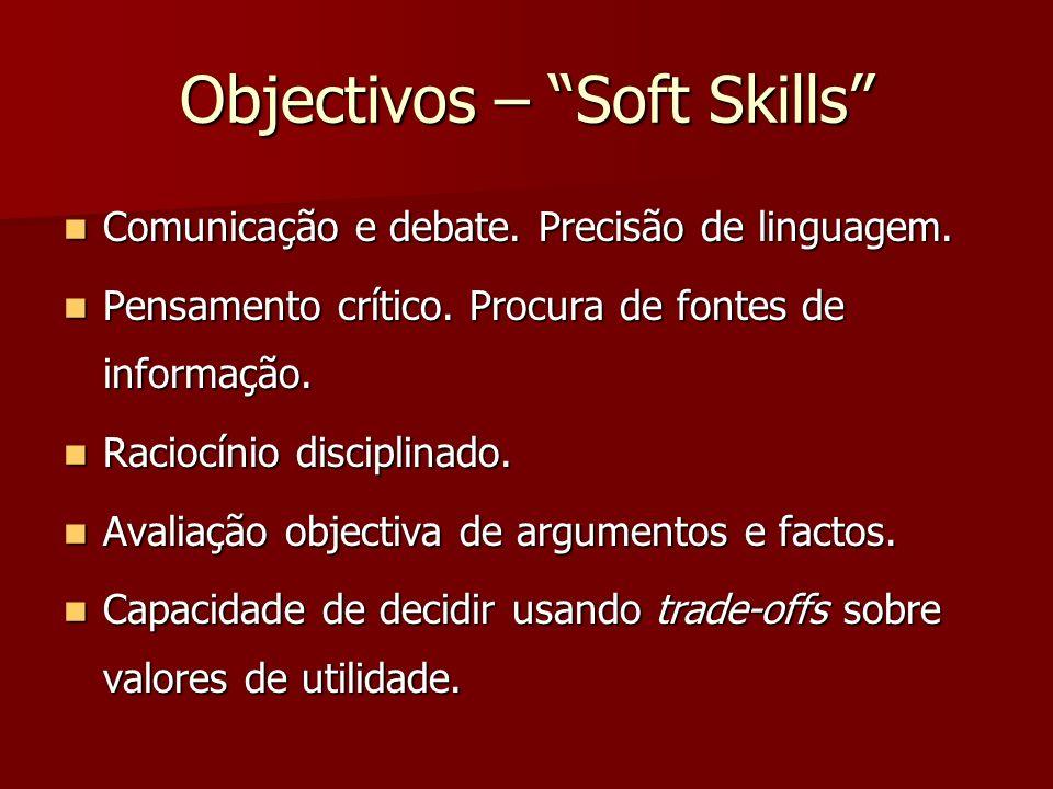 Objectivos – Soft Skills Comunicação e debate. Precisão de linguagem. Comunicação e debate. Precisão de linguagem. Pensamento crítico. Procura de font