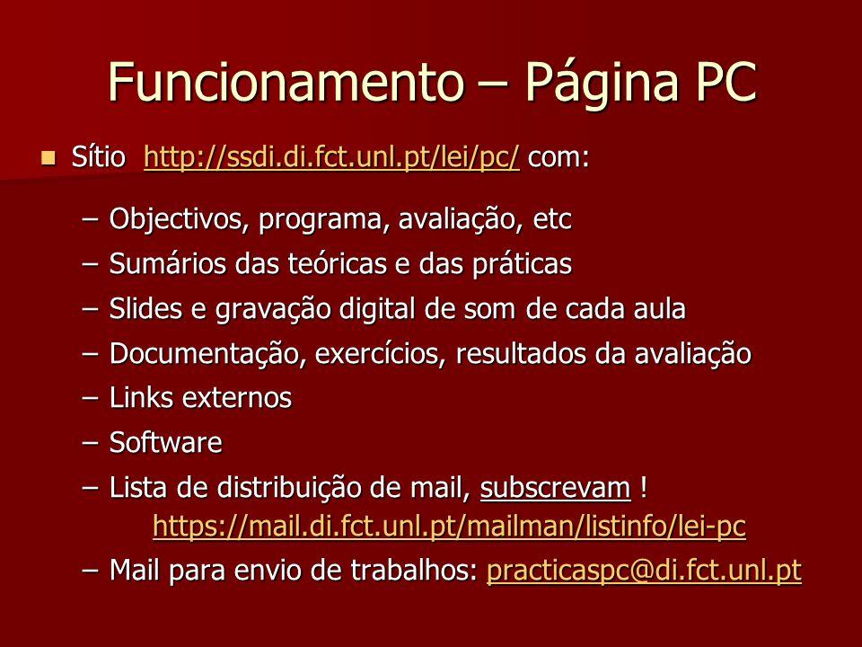 Funcionamento – Página PC Sítio http://ssdi.di.fct.unl.pt/lei/pc/ com: Sítio http://ssdi.di.fct.unl.pt/lei/pc/ com:http://ssdi.di.fct.unl.pt/lei/pc/ –
