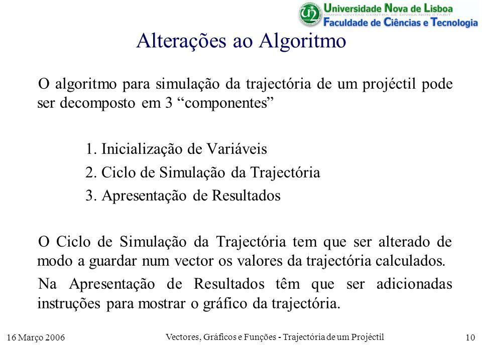 16 Março 2006 Vectores, Gráficos e Funções - Trajectória de um Projéctil 10 Alterações ao Algoritmo O algoritmo para simulação da trajectória de um projéctil pode ser decomposto em 3 componentes 1.