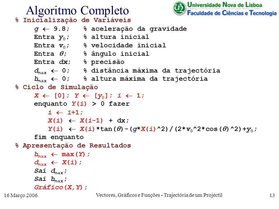 16 Março 2006 Vectores, Gráficos e Funções - Trajectória de um Projéctil 13 Algoritmo Completo % Inicialização de Variáveis g 9.8; % aceleração da gra
