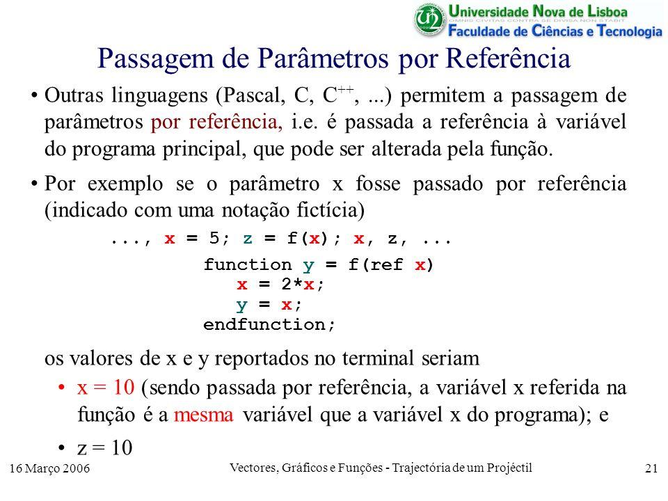 16 Março 2006 Vectores, Gráficos e Funções - Trajectória de um Projéctil 21 Passagem de Parâmetros por Referência Outras linguagens (Pascal, C, C ++,...) permitem a passagem de parâmetros por referência, i.e.