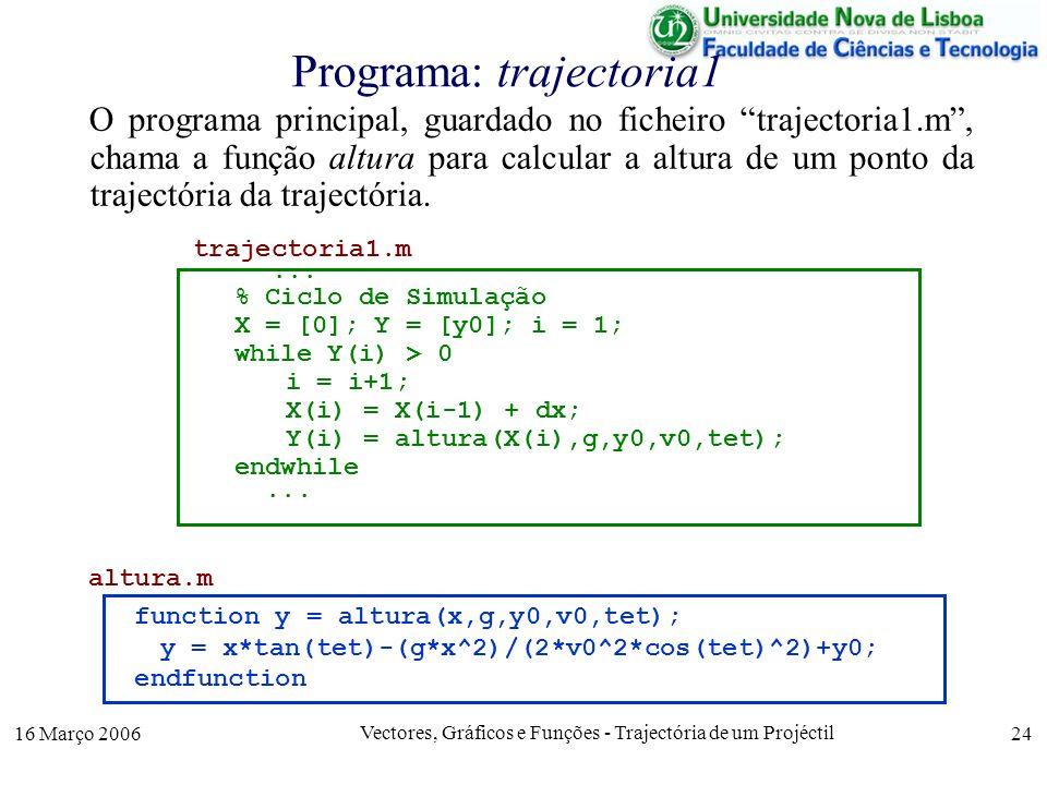 16 Março 2006 Vectores, Gráficos e Funções - Trajectória de um Projéctil 24 Programa: trajectoria1 O programa principal, guardado no ficheiro trajectoria1.m, chama a função altura para calcular a altura de um ponto da trajectória da trajectória.