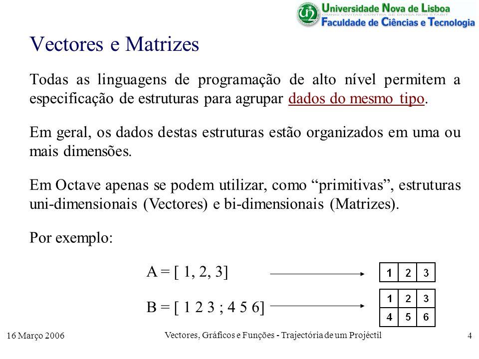 16 Março 2006 Vectores, Gráficos e Funções - Trajectória de um Projéctil 15 Funções Em geral, as linguagens de programação, além de oferecerem funções prédefinidas (ex: sqrt(x), cos(x),…) permitem que o programador defina as suas próprias funções.