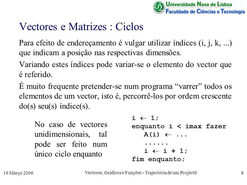 16 Março 2006 Vectores, Gráficos e Funções - Trajectória de um Projéctil 8 Vectores e Matrizes : Ciclos Para efeito de endereçamento é vulgar utilizar índices (i, j, k,...) que indicam a posição nas respectivas dimensões.