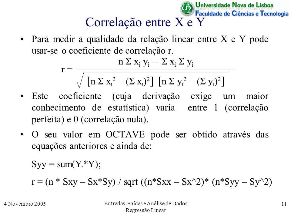 4 Novembro 2005 Entradas, Saídas e Análise de Dados Regressão Linear 11 Correlação entre X e Y Para medir a qualidade da relação linear entre X e Y po