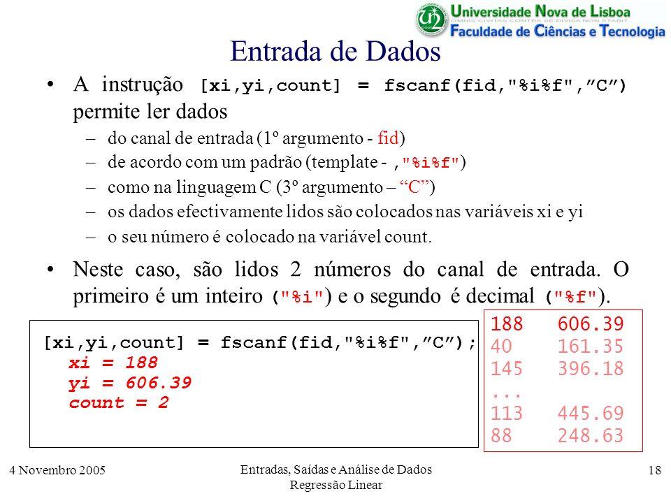 4 Novembro 2005 Entradas, Saídas e Análise de Dados Regressão Linear 18 Entrada de Dados [xi,yi,count] = fscanf(fid,