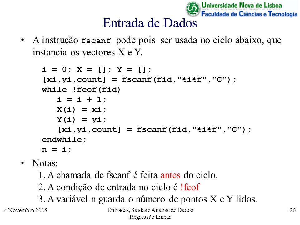 4 Novembro 2005 Entradas, Saídas e Análise de Dados Regressão Linear 20 Entrada de Dados i = 0; X = []; Y = []; [xi,yi,count] = fscanf(fid,