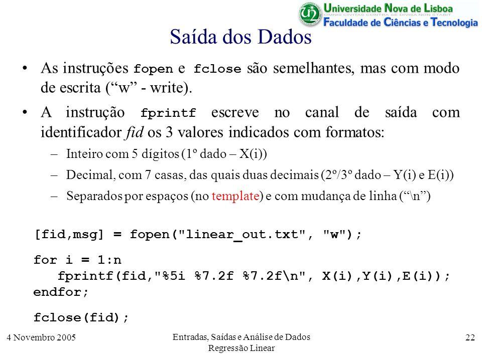 4 Novembro 2005 Entradas, Saídas e Análise de Dados Regressão Linear 22 Saída dos Dados [fid,msg] = fopen(