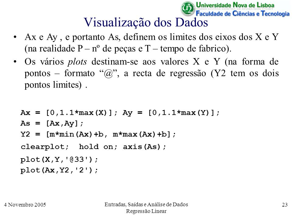 4 Novembro 2005 Entradas, Saídas e Análise de Dados Regressão Linear 23 Visualização dos Dados Ax = [0,1.1*max(X)]; Ay = [0,1.1*max(Y)]; As = [Ax,Ay];