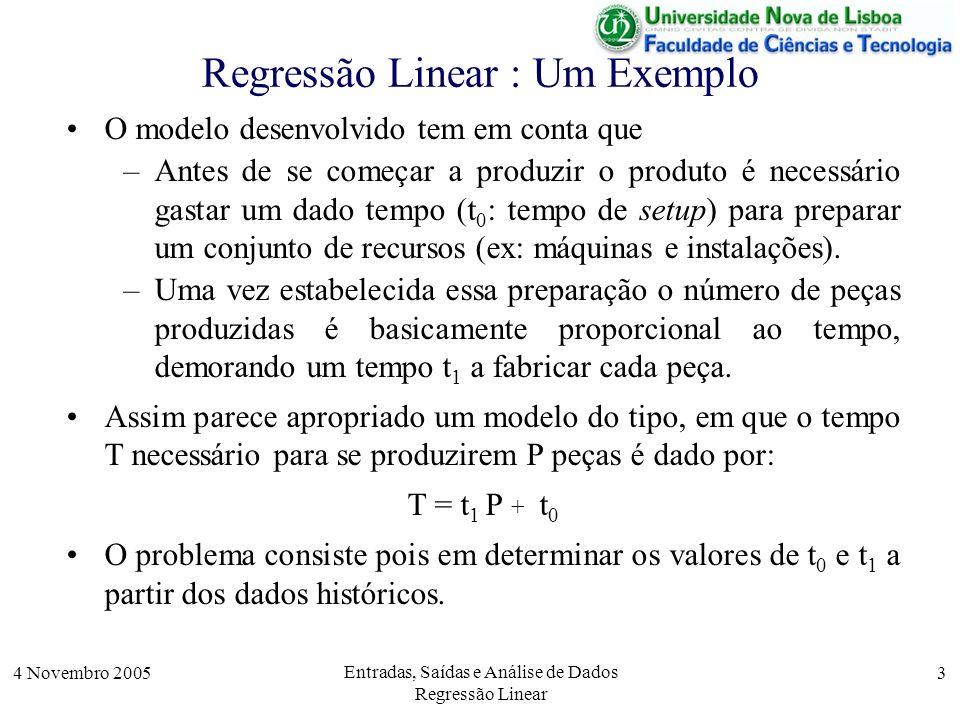 4 Novembro 2005 Entradas, Saídas e Análise de Dados Regressão Linear 4 Análise de Dados – Regressão Linear Este problema é apenas um exemplo de aplicação da técnica de análise de dados, denominada, regressão linear, que na sua forma geral se pode descrever por: –Regressão Linear: Dado um conjunto de dados, x i e y i verificar se eles estão numa relação linear Y = m X +b O problema tem dois subproblemas: –Determinar os valores de m e b mais apropriados aos valores dos vários pares de valores.