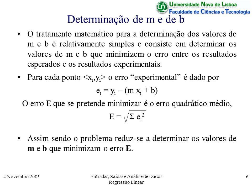 4 Novembro 2005 Entradas, Saídas e Análise de Dados Regressão Linear 17 Entrada de Dados [fid,msg] = fopen( linear.txt , r ); i = 0; X = []; Y = []; [xi,yi,count] = fscanf(fid, %i%f ,C); while !feof(fid) i = i + 1; X(i) = xi; Y(i) = yi; [xi,yi,count] = fscanf(fid, %i%f ,C); endwhile; n=i; fclose(fid); 188606.39 40161.35 145396.18...