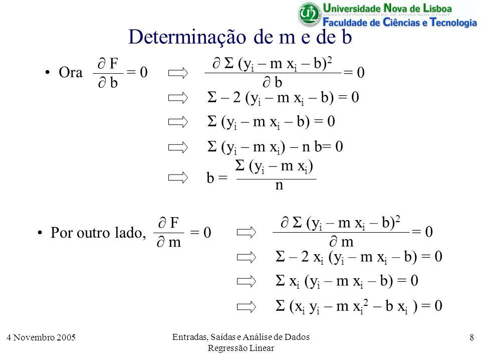 4 Novembro 2005 Entradas, Saídas e Análise de Dados Regressão Linear 9 Determinação de m e de b Usando agora o valor de na fórmula Σ (y i – m x i ) n b = Σ (x i y i – m x i 2 – b x i ) = 0 permite-nos obter o valor de m: Σ (x i y i – m x i 2 – 1 / n x i Σ (y i – m x i )) = 0 Σ (n x i y i – n m x i 2 ) – Σ x i Σ (y i – m x i ) = 0 n Σ x i y i – m n Σ x i 2 – Σ x i Σ y i + m Σ x i Σ x i = 0 m [n Σ x i 2 – (Σ x i ) 2 ] = n Σ x i y i – Σ x i Σ y i n Σ x i y i – Σ x i Σ y i n Σ x i 2 – (Σ x i ) 2...