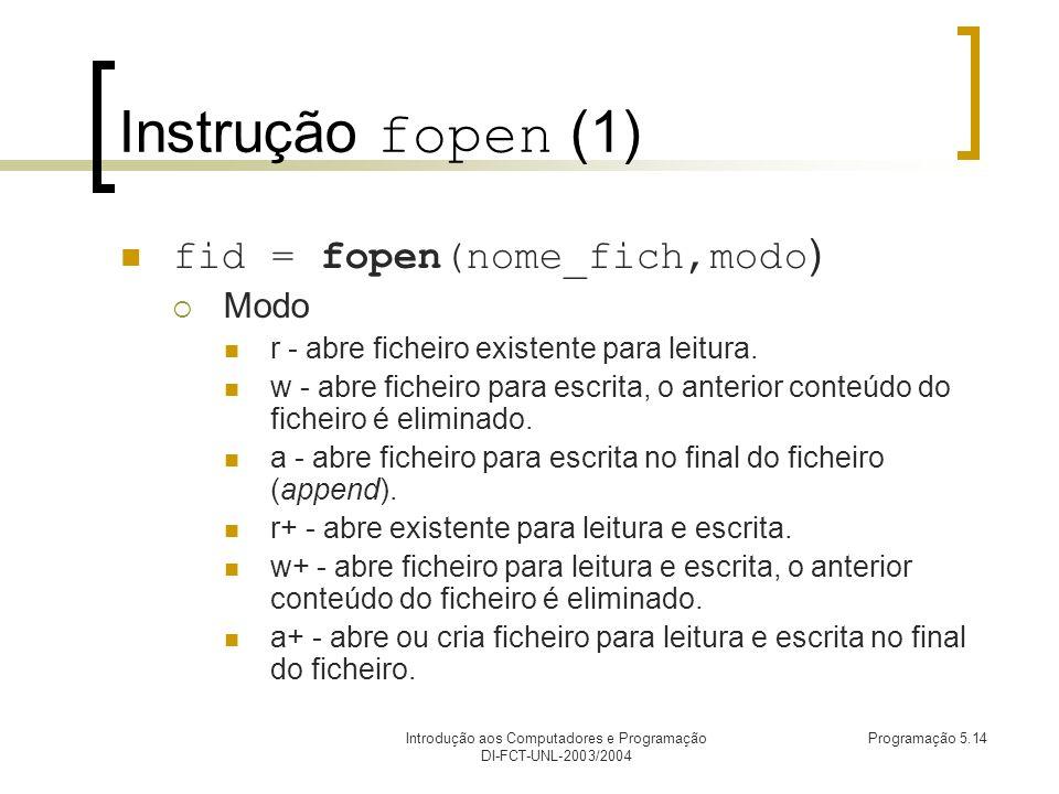 Introdução aos Computadores e Programação DI-FCT-UNL-2003/2004 Programação 5.14 Instrução fopen (1) fid = fopen(nome_fich,modo ) Modo r - abre ficheiro existente para leitura.