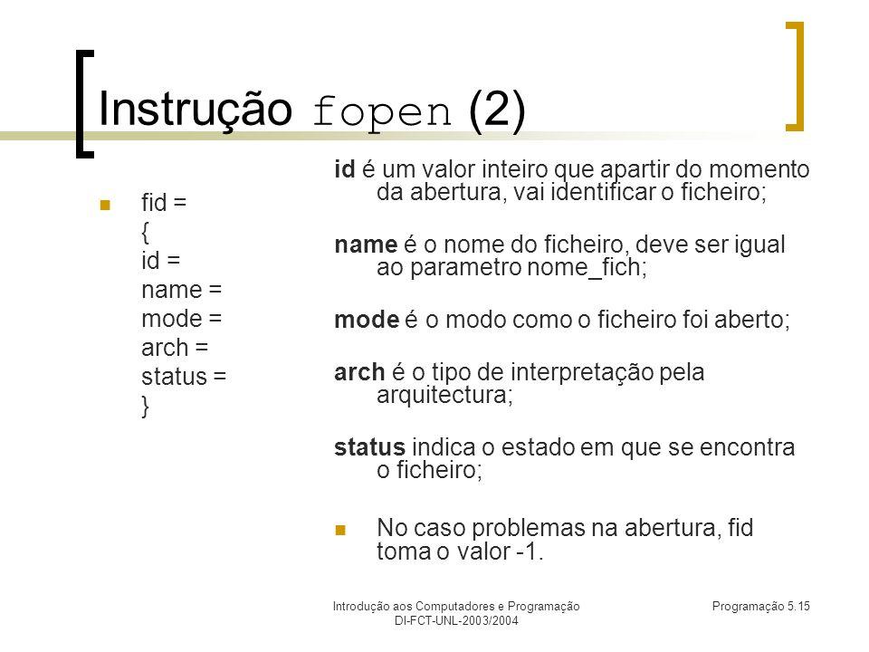 Introdução aos Computadores e Programação DI-FCT-UNL-2003/2004 Programação 5.15 Instrução fopen (2) fid = { id = name = mode = arch = status = } id é um valor inteiro que apartir do momento da abertura, vai identificar o ficheiro; name é o nome do ficheiro, deve ser igual ao parametro nome_fich; mode é o modo como o ficheiro foi aberto; arch é o tipo de interpretação pela arquitectura; status indica o estado em que se encontra o ficheiro; No caso problemas na abertura, fid toma o valor -1.
