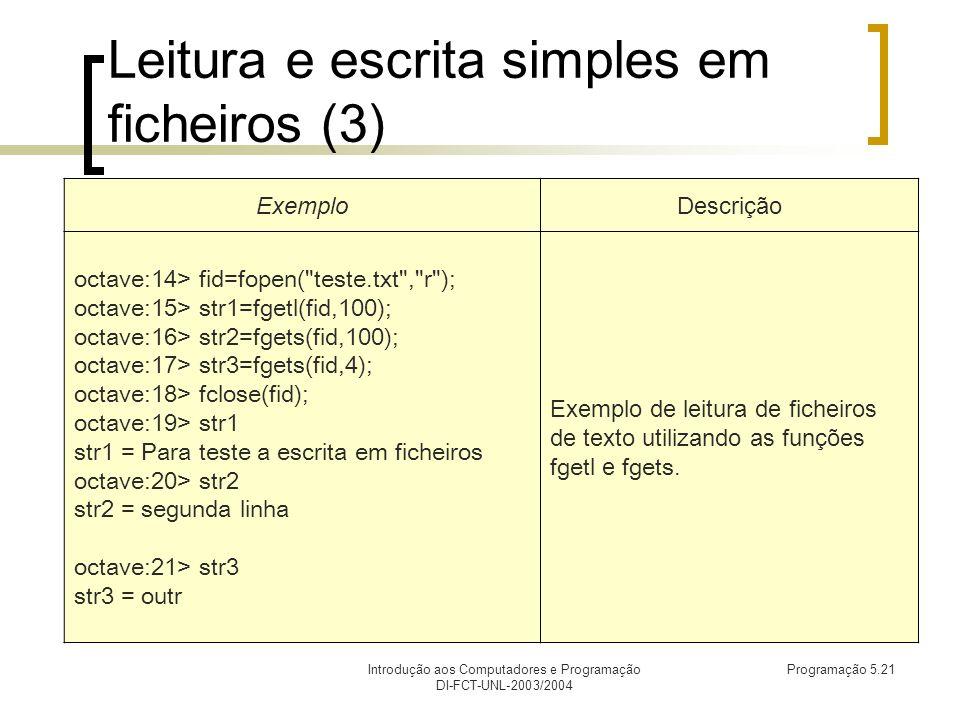Introdução aos Computadores e Programação DI-FCT-UNL-2003/2004 Programação 5.21 Leitura e escrita simples em ficheiros (3) ExemploDescrição octave:14> fid=fopen( teste.txt , r ); octave:15> str1=fgetl(fid,100); octave:16> str2=fgets(fid,100); octave:17> str3=fgets(fid,4); octave:18> fclose(fid); octave:19> str1 str1 = Para teste a escrita em ficheiros octave:20> str2 str2 = segunda linha octave:21> str3 str3 = outr Exemplo de leitura de ficheiros de texto utilizando as funções fgetl e fgets.