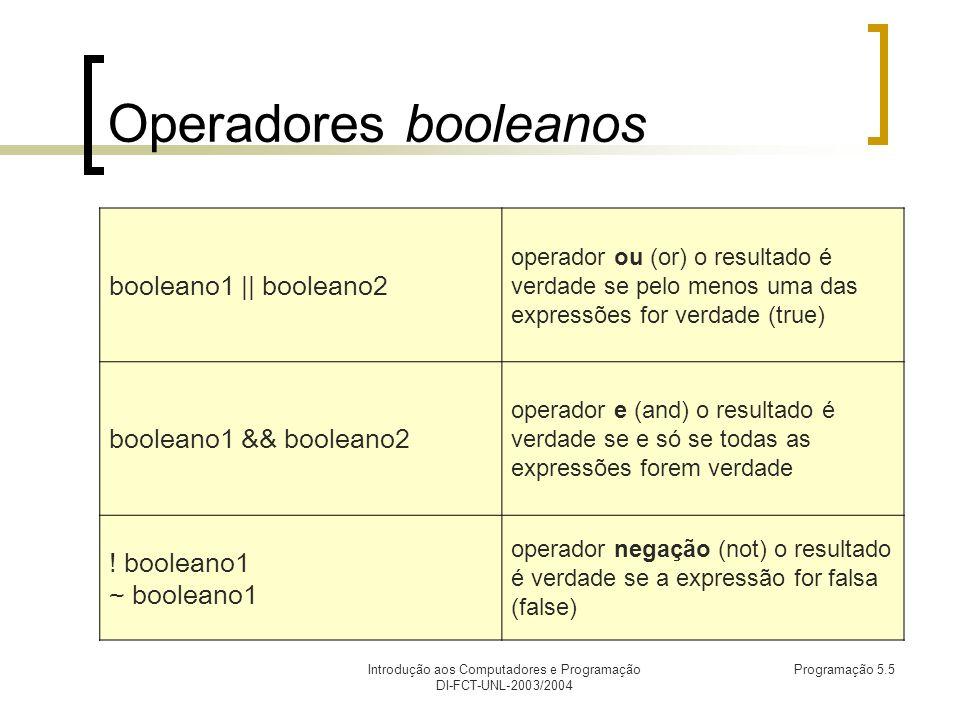 Introdução aos Computadores e Programação DI-FCT-UNL-2003/2004 Programação 5.5 Operadores booleanos booleano1 || booleano2 operador ou (or) o resultado é verdade se pelo menos uma das expressões for verdade (true) booleano1 && booleano2 operador e (and) o resultado é verdade se e só se todas as expressões forem verdade .