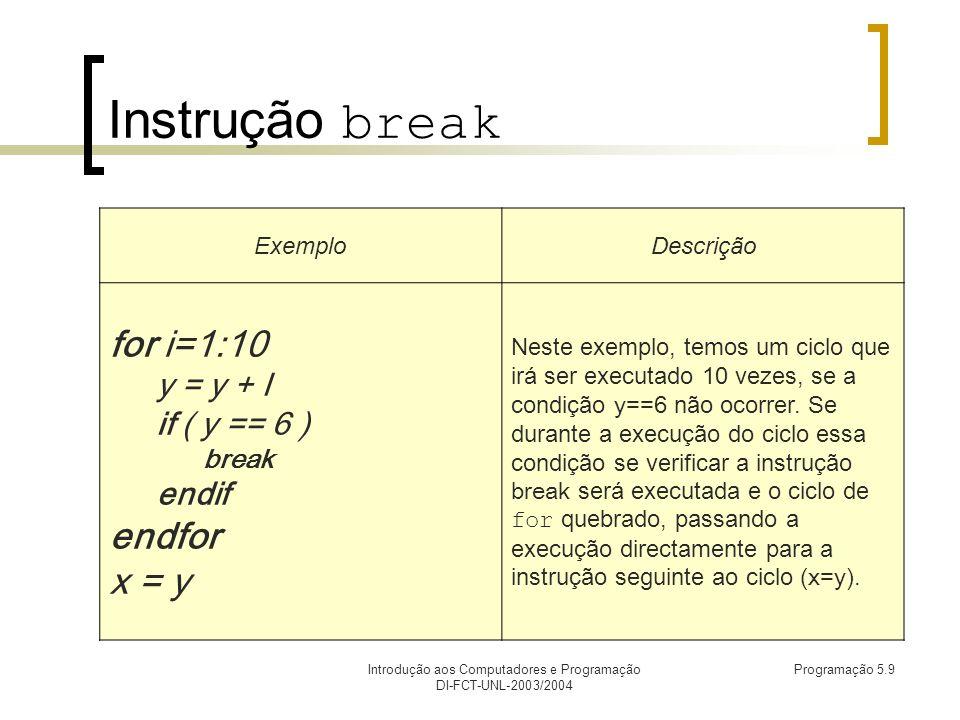 Introdução aos Computadores e Programação DI-FCT-UNL-2003/2004 Programação 5.9 Instrução break ExemploDescrição for i=1:10 y = y + I if ( y == 6 ) break endif endfor x = y Neste exemplo, temos um ciclo que irá ser executado 10 vezes, se a condição y==6 não ocorrer.