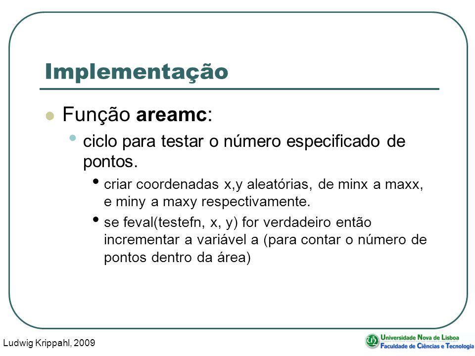 Ludwig Krippahl, 2009 22 Implementação Função areamc: ciclo para testar o número especificado de pontos.
