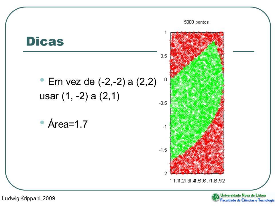 Ludwig Krippahl, 2009 28 Dicas Em vez de (-2,-2) a (2,2) usar (1, -2) a (2,1) Área=1.7