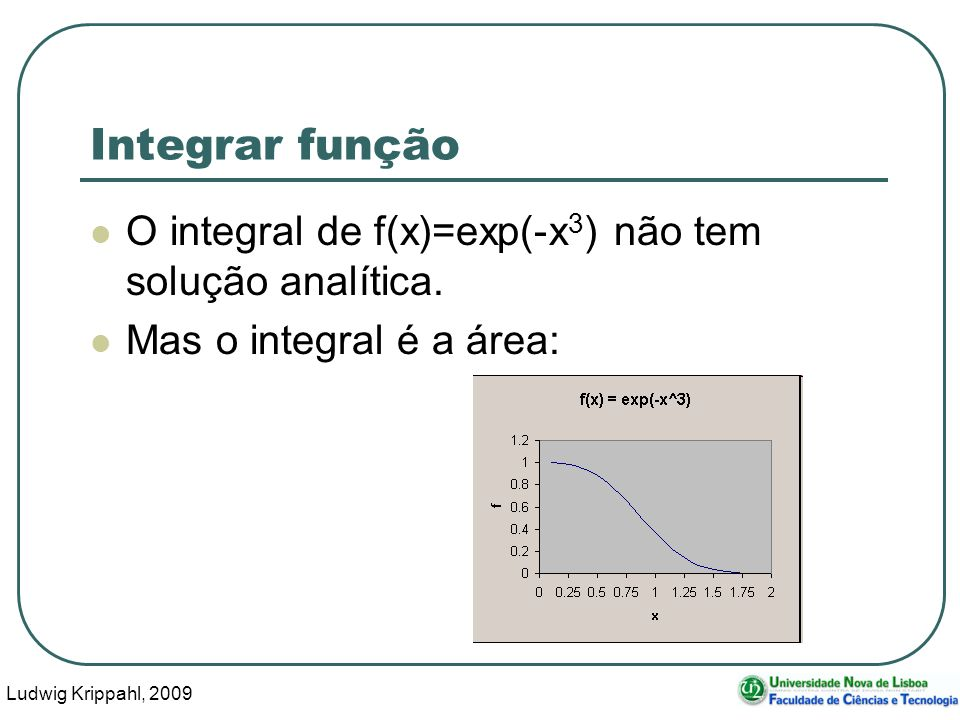 Ludwig Krippahl, 2009 30 Integrar função O integral de f(x)=exp(-x 3 ) não tem solução analítica.