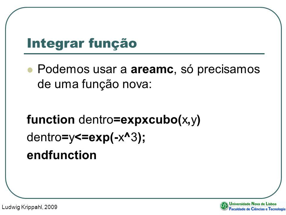 Ludwig Krippahl, 2009 31 Integrar função Podemos usar a areamc, só precisamos de uma função nova: function dentro=expxcubo(x,y) dentro=y<=exp(-x^3); endfunction