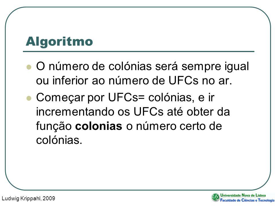 Ludwig Krippahl, 2009 53 Algoritmo O número de colónias será sempre igual ou inferior ao número de UFCs no ar.