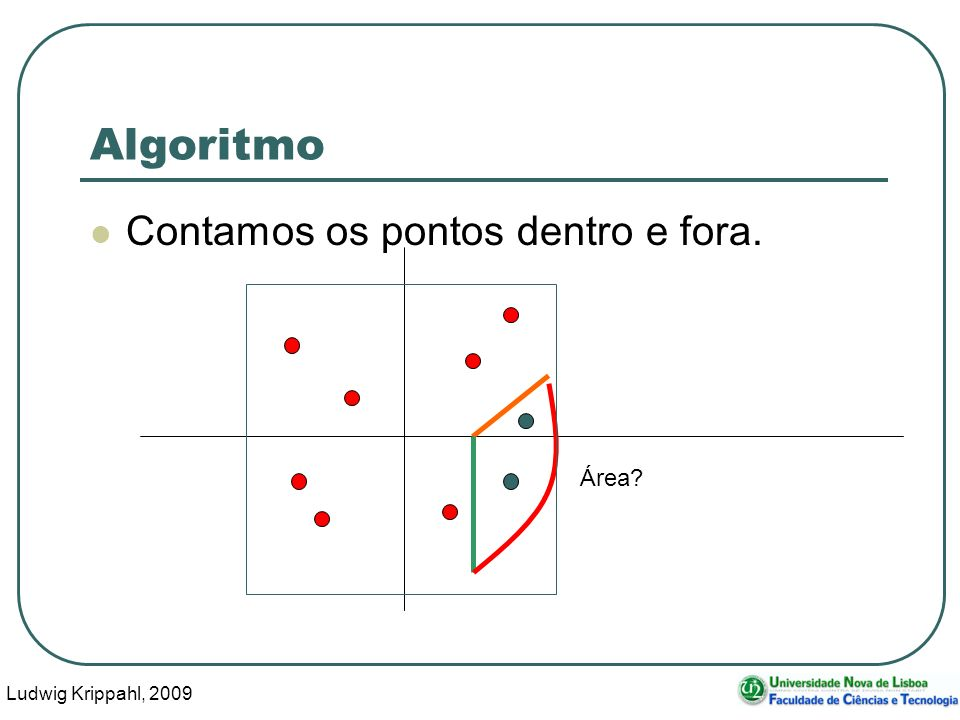Ludwig Krippahl, 2009 7 Algoritmo Contamos os pontos dentro e fora. Área