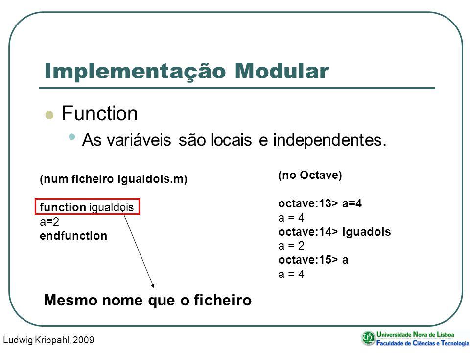 Ludwig Krippahl, 2009 33 Implementação Modular Function As variáveis são locais e independentes.