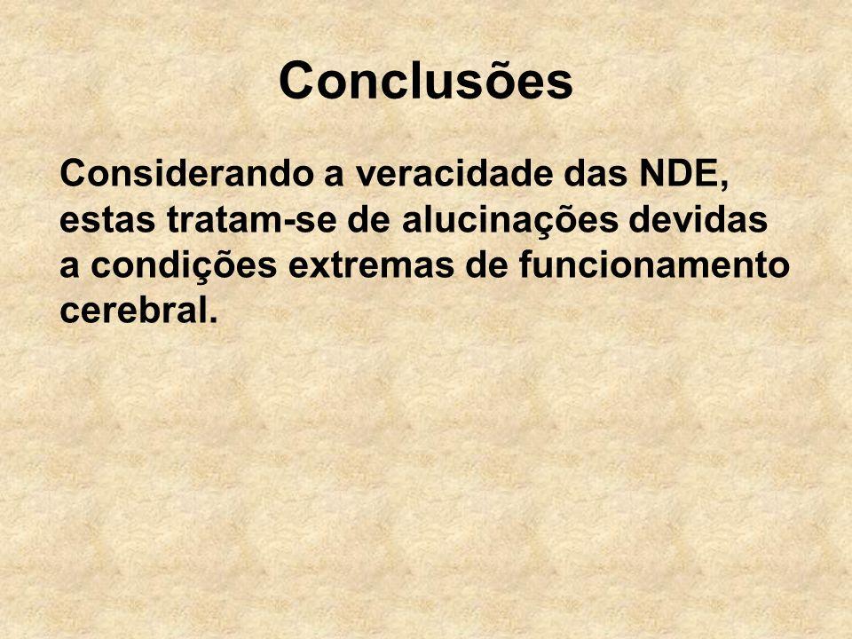 Conclusões Considerando a veracidade das NDE, estas tratam-se de alucinações devidas a condições extremas de funcionamento cerebral.