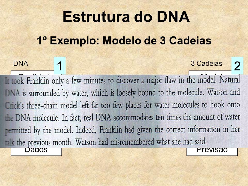 Estrutura do DNA 1º Exemplo: Modelo de 3 Cadeias RealidadeModelo Hipótese Dados Observação 3 Previsão 4 Raciocínio 12 DNA3 Cadeias