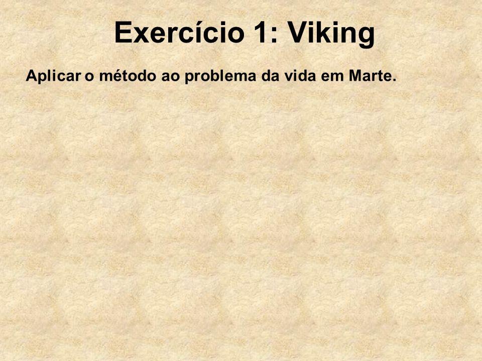 Exercício 1: Viking Aplicar o método ao problema da vida em Marte.