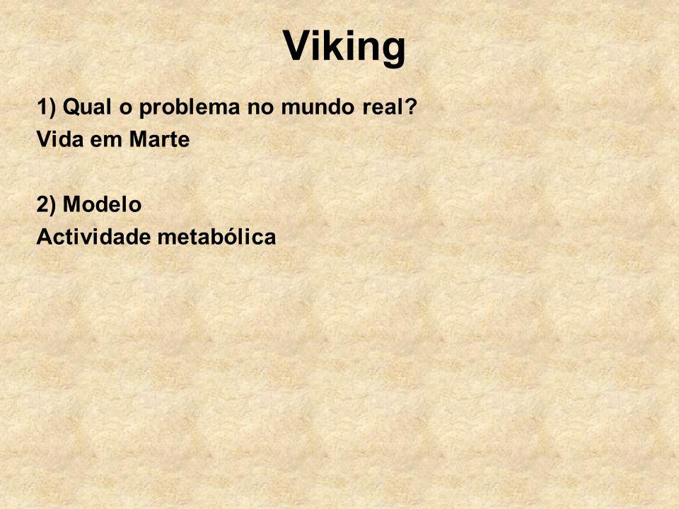 Viking 1) Qual o problema no mundo real? Vida em Marte 2) Modelo Actividade metabólica