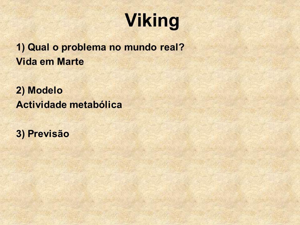 Viking 1) Qual o problema no mundo real? Vida em Marte 2) Modelo Actividade metabólica 3) Previsão