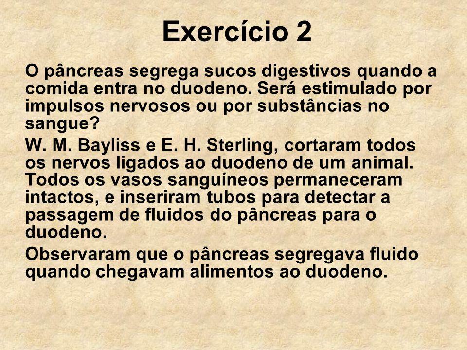 Exercício 2 O pâncreas segrega sucos digestivos quando a comida entra no duodeno. Será estimulado por impulsos nervosos ou por substâncias no sangue?