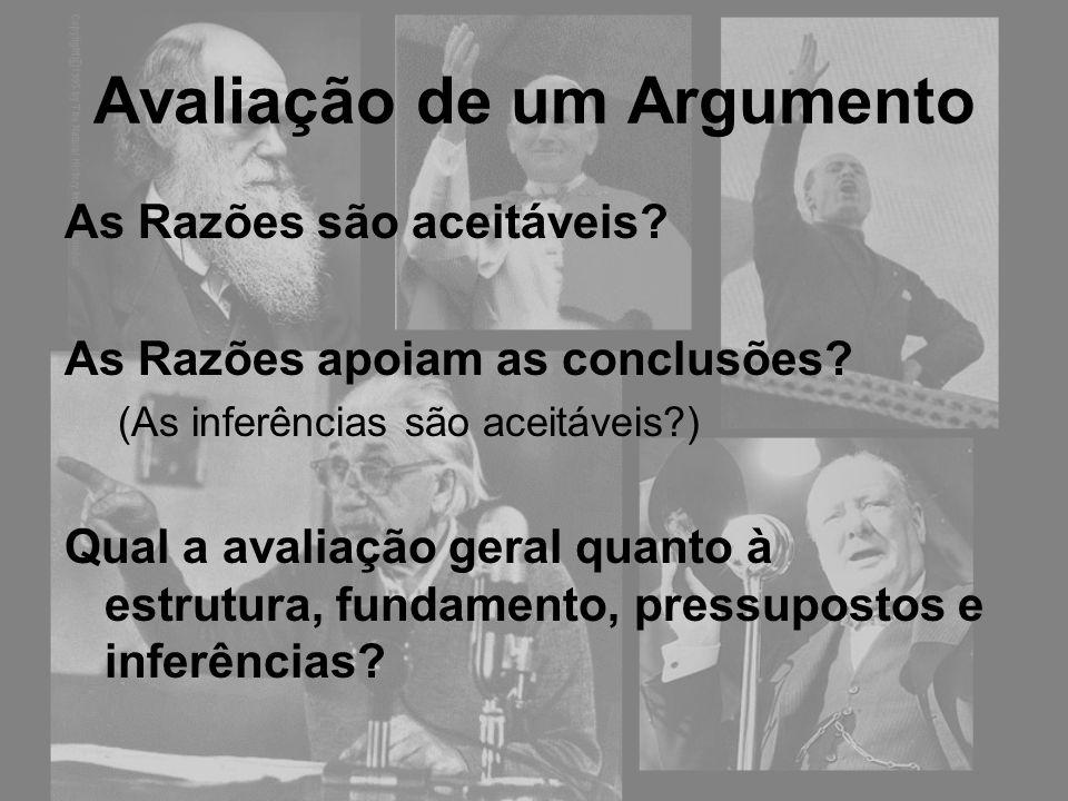 Avaliação de um Argumento As Razões são aceitáveis? As Razões apoiam as conclusões? (As inferências são aceitáveis?) Qual a avaliação geral quanto à e