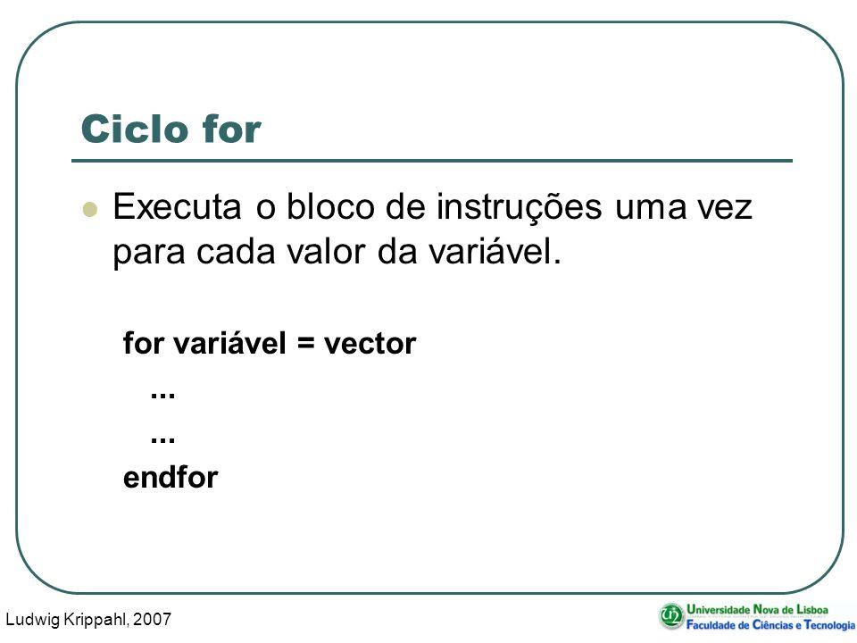 Ludwig Krippahl, 2007 13 Ciclo for Executa o bloco de instruções uma vez para cada valor da variável.