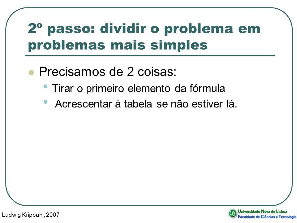 Ludwig Krippahl, 2007 22 2º passo: dividir o problema em problemas mais simples Precisamos de 2 coisas: Tirar o primeiro elemento da fórmula Acrescentar à tabela se não estiver lá.