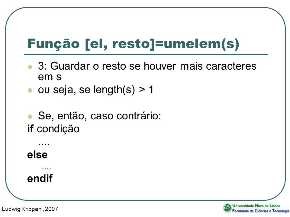 Ludwig Krippahl, 2007 32 Função [el, resto]=umelem(s) 3: Guardar o resto se houver mais caracteres em s ou seja, se length(s) > 1 Se, então, caso contrário: if condição....