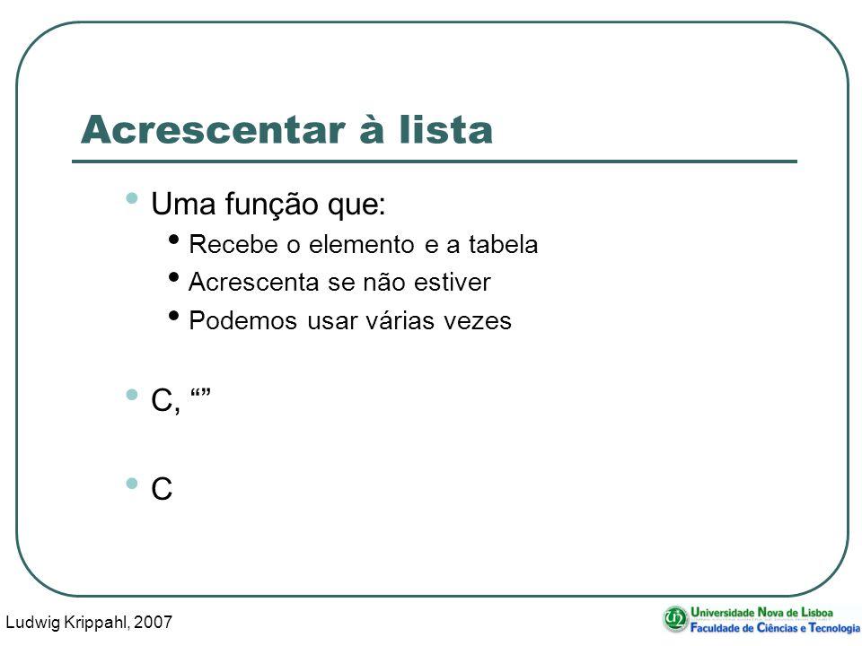 Ludwig Krippahl, 2007 37 Acrescentar à lista Uma função que: Recebe o elemento e a tabela Acrescenta se não estiver Podemos usar várias vezes C, C