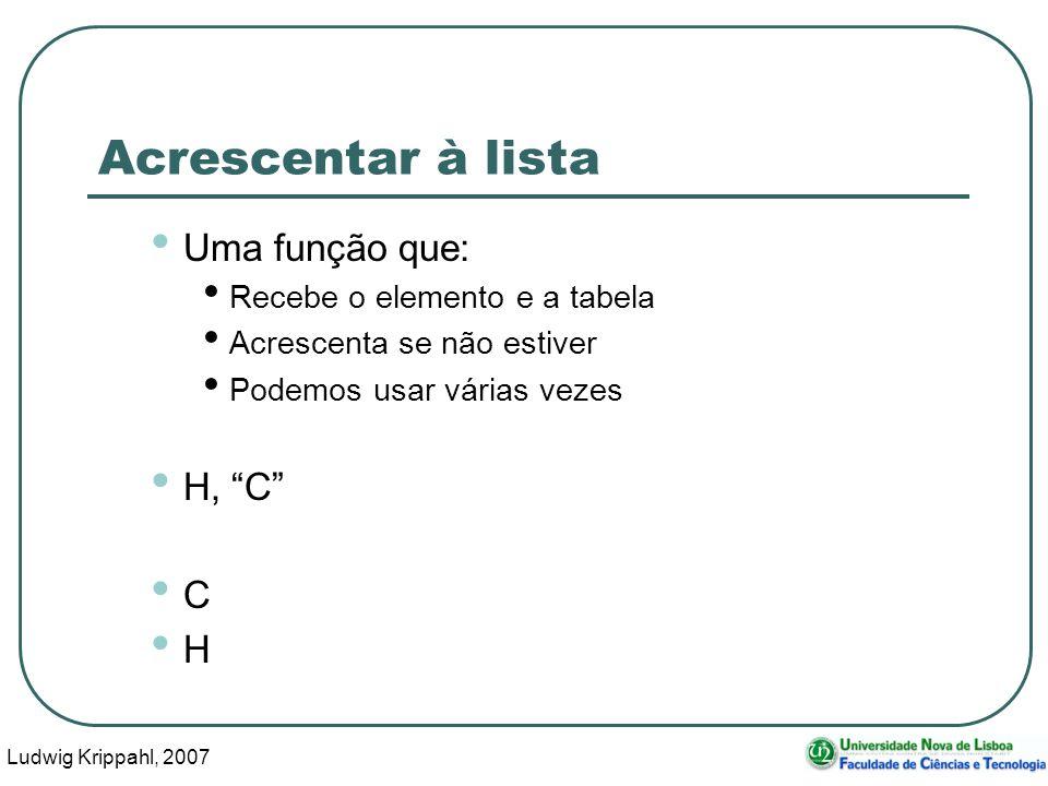 Ludwig Krippahl, 2007 38 Acrescentar à lista Uma função que: Recebe o elemento e a tabela Acrescenta se não estiver Podemos usar várias vezes H, C C H