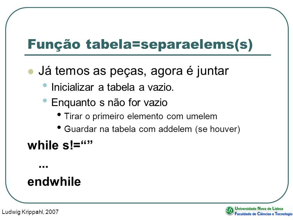 Ludwig Krippahl, 2007 43 Função tabela=separaelems(s) Já temos as peças, agora é juntar Inicializar a tabela a vazio.