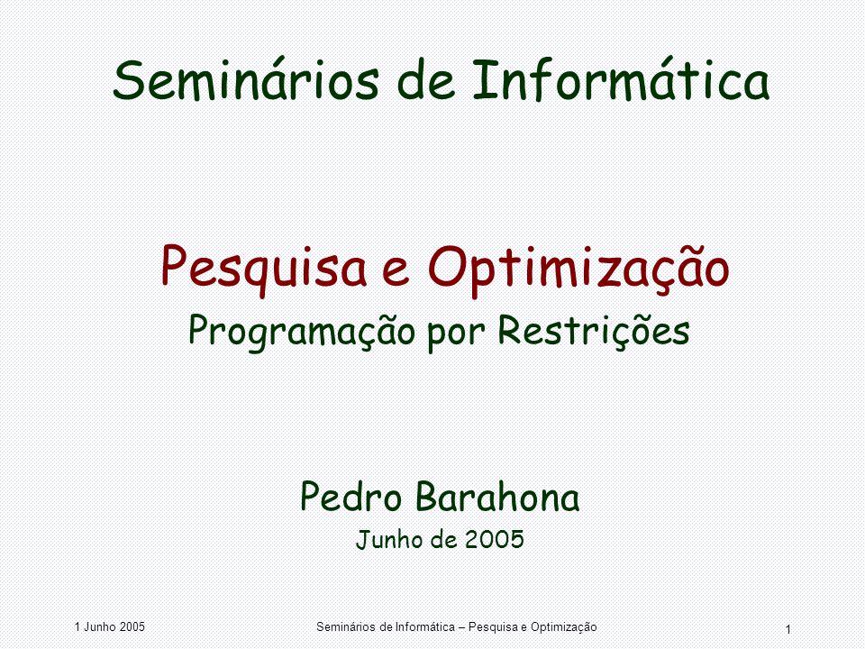 1 Junho 2005Seminários de Informática – Pesquisa e Optimização 1 Seminários de Informática Pesquisa e Optimização Programação por Restrições Pedro Bar