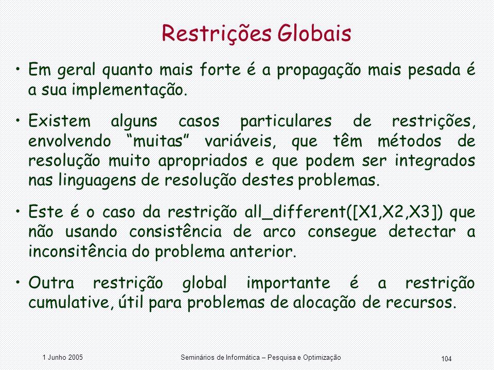 1 Junho 2005Seminários de Informática – Pesquisa e Optimização 104 Restrições Globais Em geral quanto mais forte é a propagação mais pesada é a sua im