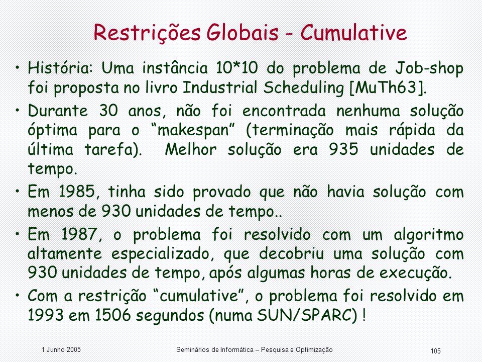 1 Junho 2005Seminários de Informática – Pesquisa e Optimização 105 Restrições Globais - Cumulative História: Uma instância 10*10 do problema de Job-sh
